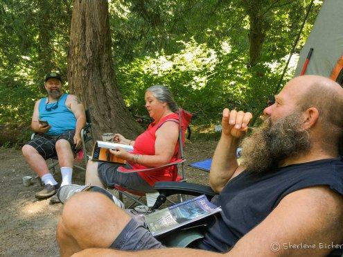 Sitting around camp.